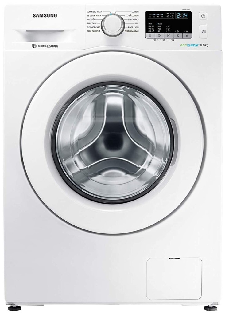 Samsung 8 kg WW80J4243MW/TL Fully-Automatic Front Loading Washing Machine Full Specifications and Price in India